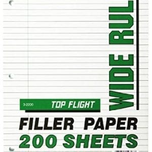 filler paper 200 ct wide rule