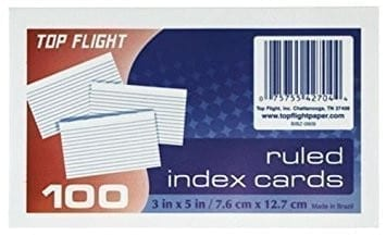 index cards 3 x 5 top flight