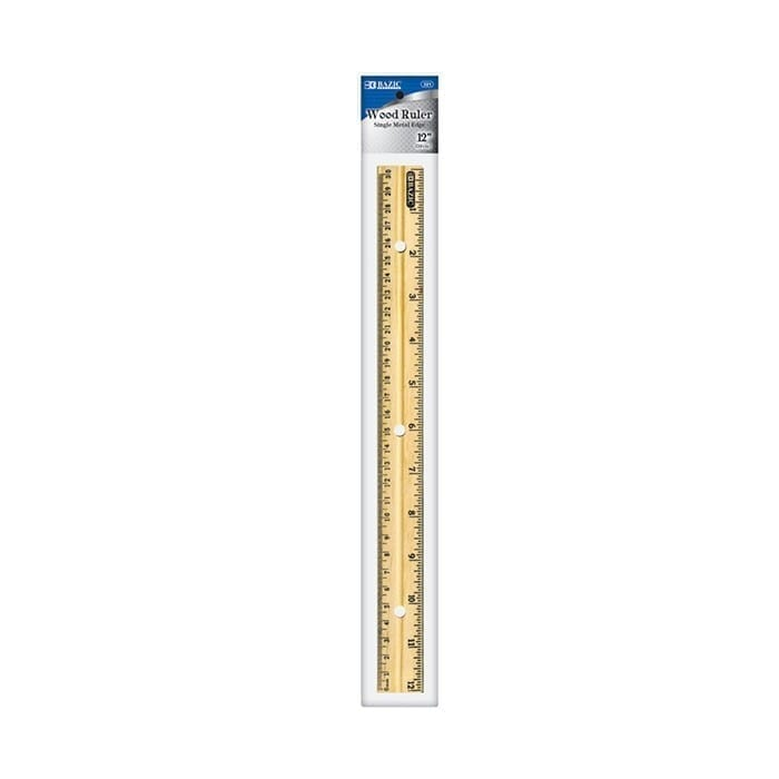 Ruler, wooden, 12 inch, inches and centimeter