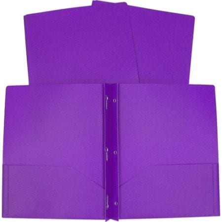 Folder, plastic  purple with brads prongs
