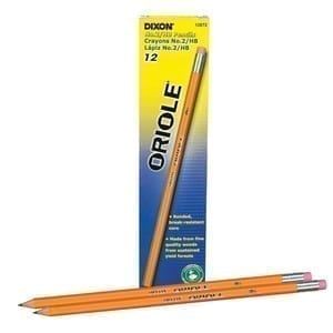 Pencils, no. 2, sharpened, Dixon Oriole, dozen 12 oack