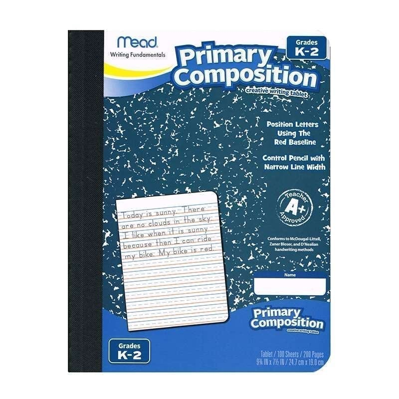 Composition book, Primary, 100 sheets, full page ruled Brand Mead 09902