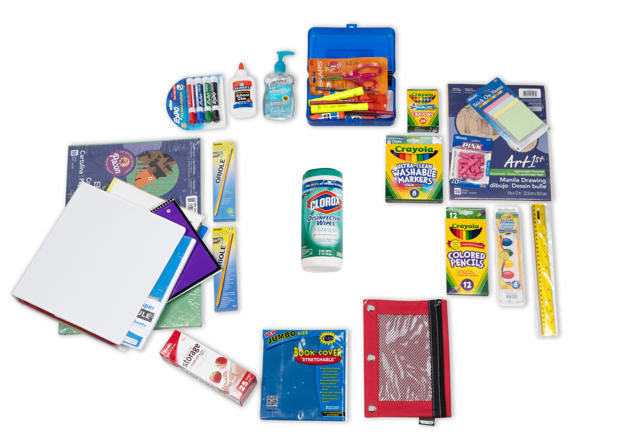 Items shown are an example of our most popular items.  Your pack items will contain your specific items requested on  your school supply lists.