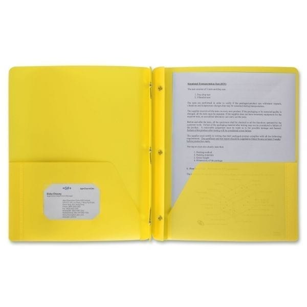 Folder, yellow plastic prong brad