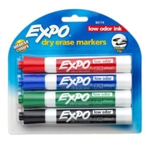 dry erase markers expo 4 pack chisel tip low odor