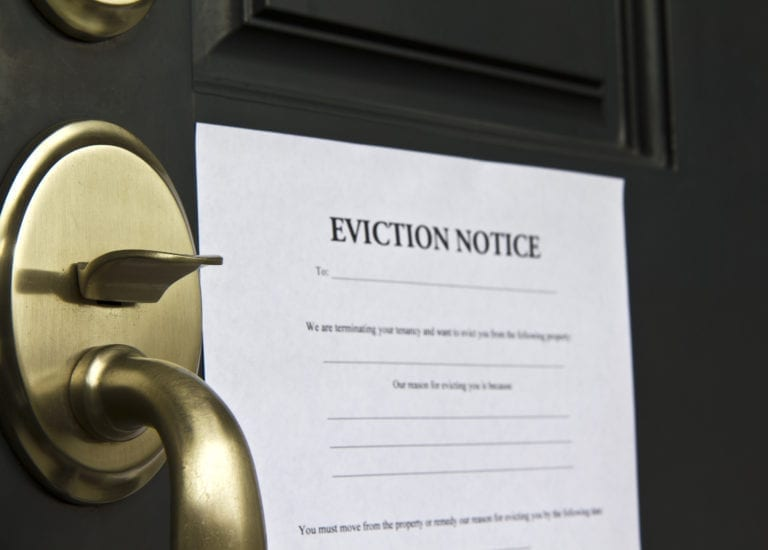 Eviction Notice Letter on a door
